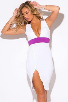Bright white fuchsia color block deep v fitted pencil midi dress White V Neck Dress, Mini Dresses For Women, Fast Fashion, Clubwear, Couture, Sexy, Chi Chi, Pencil, Bright