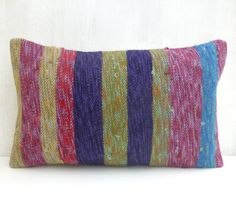 Small Kilim Lumbar Pillow with stripes 50x30 cm