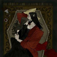 Vampire Lovers, an art print by Abigail Larson - INPRNT Fantasy Kunst, Dark Fantasy Art, Dark Art, Dark Gothic Art, Gothic Artwork, Arte Horror, Horror Art, Gothic Kunst, Character Inspiration