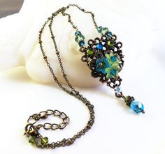 New w/Swarovski Chrysolite/Aquamarine Crystal Vintage Floral Cluster Necklace #HisJewelsCreationsDesign #Pendant