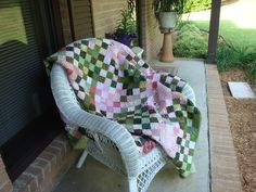 My Rhubarb pie quilt from a kit from Keepsake Quilting. Love the pinks and greens.
