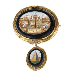 A mid 19th Century Roman micromosaic St. Peter pendant/brooch. I find it fascinating how many times this cityscape shows up in micromosaic design.  Must have been one hell of a (tiny) factory making these brooches.