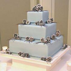 torta nuziale invernale - winter wedding cake with pinecones