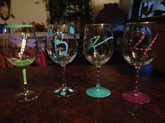 Decorated wine glasses for personalized gifts