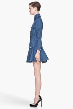 BALMAIN Blue cotton twill Denim Dress