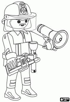 De brandweercommandant van de stad van Playmobil met de megafoon en de walkie-talkie kleurplaat