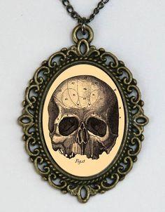 Victorian Medical Drawing Skull necklace anatomy psychobilly gothic punk steampunk. $8.00, via Etsy.