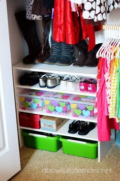 LOVE this! Use a 15 dollar walmart bookshelf in closet for extra shoe or toy storage in your kids rooms. Get plastic totes from the dollar store and fill them with small toys like race cars, blocks, or crayons! Organization for cheap.