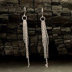 Silver Dangle Earrings Long Chain Earrings Modern by Artulia, $38.00