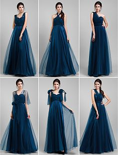 Bridesmaid Dress Floor Length Tulle A Line Convertible Dress (1739560) - USD $ 99.99