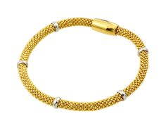 .925 Sterling Silver Gold Plated Thin Beaded Italian Bracelet - 4mm width 6.5 -7 Inches