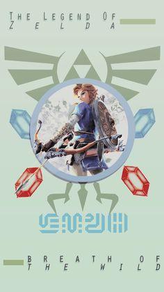 "THE LEGEND OF ZELDA : BREATH OF THE WILD""lockscreen of Link, Princess Zelda, Mipha, Urbosa, Daruk, Revali ; the champions. """