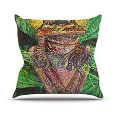 KESS InHouse DJ1002AOP03 18 x 18-Inch 'David Joyner Frogs Green Red' Outdoor Throw Cushion - Multi-Colour