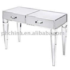 Clear Acrylic King George Vanity Table;Clear Acrylic Vanity;Clear Lucite  Table;Organic