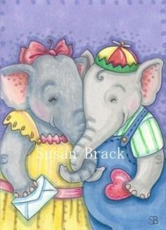 NEVER FORGET YOUR FIRST VALENTINE - Never forget your first love.  Send them a Valentine.  by Susan Brack from ELEPHANTS EBSQ ACEO SFA Illustration Art