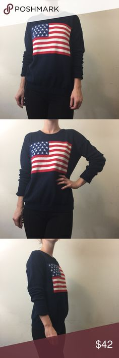 Brandy Melville Navy Knit American Flag Sweater Brandy Melville Sweater American flag Printed atop and is Knit with long sleeves no lining and is super cute with anything- fits a small and medium best! Brandy Melville Sweaters