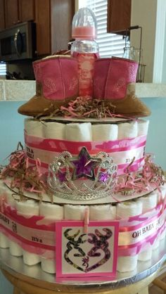 Pink camouflage diaper cake I made for Laurens baby shower.