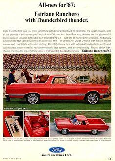 1967 Ford Fairlane Ranchero - with Thunderbird Thunder - Original Ad