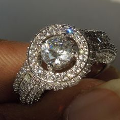 Solitaire With Accents Halo Engagement Ring In 14k White Gold