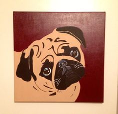pug painting done in acrylic