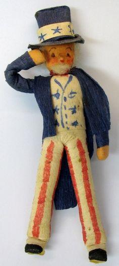 Uncle Sam Christmas ornament. Spun cotton and crepe paper.