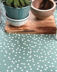 Dark mint coated cotton table cloth, confetti.
