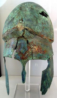 Etruscan helmet, Perugia, Frontone Necropolis, Tomb of 1840. 4th c. BCE.