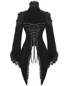 RQBL Black Tears Womens Tailcoat Jacket Gothic Velvet Lace Vampire Regency