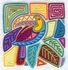 Mola Art Toucan Machine Embroidered Quilt Block Usaemb | eBay