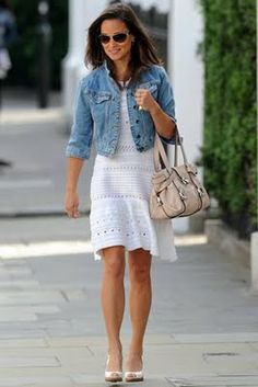 White Summer Dress and Jean Jacket
