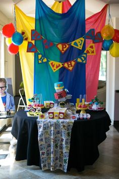 First Birthday Party Superhero Theme Decor Superhero Baby Shower, Superhero Birthday Party, 4th Birthday Parties, Birthday Fun, Birthday Ideas, Cake Birthday, Birthday Wishes, Avenger Party, Superman Party