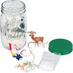 Delight in this Spitfire Girl Mason Jar filled with holiday goodies. Create your own holiday scene inside the jar, or use the pieces individually for holiday crafting. Includes a deer, gnome or elf, m