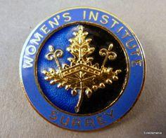 Vintage-Womens-Institute-SURREY-Enamel-Pin-Badge-W-I-Fattorini-Free-UK-Post Womens Institute, Uk Post, Free Uk, Pin Badges, Surrey, Britain, Vintage Ladies, Enamel, Ebay