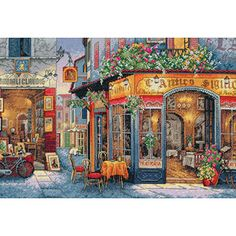 """Dimensions Gold Collection European Bistro Counted Cross Stitch Kit, 16"""" x 11"""""""