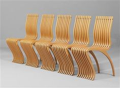 """A set of five """"Schizzo"""" chairs, designed by Ron Arad in 1989 for Vitra, Weil am Rhein, laminated wood, bent, tubular steel, steel, height 89 cm, width 36 cm, depth 58 cm. (DR) Lit.: D. Sudjic, Ron Arad, London 2001. p. 72f. - Ron Arad, No Discipline, Paris 2008, p. 82."""