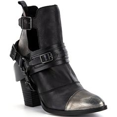 by Naughty Monkey Shelia Booties Leather Metallic Harness Black >>> You can find more details by visiting the image link. (This is an affiliate link) #AnkleBootie