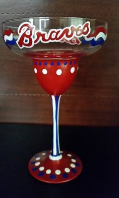 Atlanta Braves hand painted 13 oz Super Margarita glass