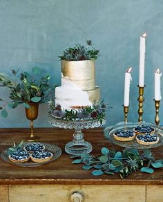 Instagram media by thebridaltheory - Blues, greens, and golds have never looked so delicious! Beautiful image by @thismodernromance with cakes by @jayscatering. With @lovemarleyofficial @kcwitkamp @loveandlacebridalsalon @xomissdanielle @peonyandplum @zenadiadesign @foundrentals and @archiverentals. #wedding #weddinginspo #sobridaltheory #florals #cake #floraldesign #flowers #engaged #engagement #engagementring #inspire #yum