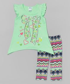Look at this #zulilyfind! Apple Bow Ruffle-Sleeve Top & Leggings - Toddler & Girls #zulilyfinds