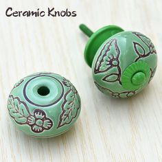Online ceramic green color drawer knob. Handcrafted by famous artisans. For more collection visit on our website. Cabinet And Drawer Pulls, Cabinet Knobs, Cabinet Hardware, Kitchen Pulls, Dresser Knobs, Ceramic Knobs, Glass Knobs, Modern Cabinets, Ceramic Flowers