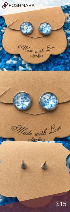 Handmade Floral Earrings Get ready for spring with these blue floral earrings. Silver posts with earring backs. Glass with floral design. Great for everyday! Jewelry Earrings