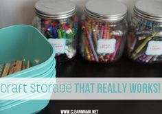 Win the battle against storing craft supplies with this great post! Craft Storage that Really Works via Clean Mama