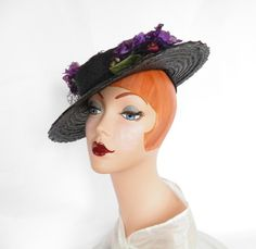vintage 1930s hat, tilt, black straw with flowers by TheVintageHatShop on Etsy