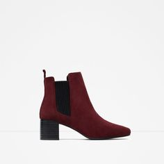Image 1 of LEATHER BLOCK HEEL ANKLE BOOTS from Zara