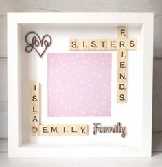 Scrabble Photo Box Frame Gift for brother, Puzzle Picture Frame, Sister Picture Frames, Picture Frame Crafts, Photo Frame Ideas, Sister Birthday Quotes, Birthday Gifts For Sister, Gifts For Brother, Birthday Presents, Scrabble Crafts