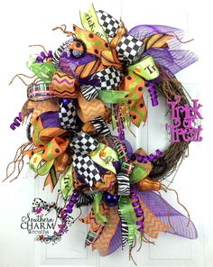 Whimsical Mesh Halloween Ribbon Wreath by SouthernCharmWreaths