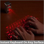 Projects a full size laser keyboard onto any flat surface.  Use it with your IPhone or IPad.