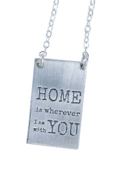 Home is wherever I am with YOU pendant Brass Pendant, Art Studios, Dog Tag Necklace, I Shop, Chanel, Pendants, Tote Bag, How To Make, Handmade