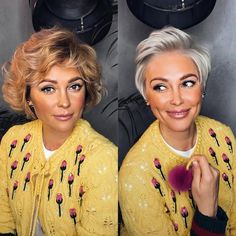 Mind Blowing Hair Transformation Before & After Photos - Gallery - - platinum pixie haircut transformation by Yuli Kuklina. Short Hair Top Knot, Timeless Skin Care, Braided Hairstyles, Wedding Hairstyles, Natural Hairstyles, Short Layered Haircuts, Hair Videos, Natural Makeup, Hair Trends