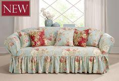 Shabby Chic Home Decor Loveseat Slipcovers, Furniture Slipcovers, Shabby Chic Furniture, Blue Furniture, Shabby Chic Cottage, Shabby Chic Homes, Shabby Chic Decor, Shabby Chic Sofa, Chic Living Room